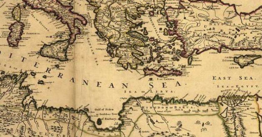 mediterranean-by-La Mer Mediterraneʹe divisee enses Principales Parties, ou Mers by Nicolas Sanson