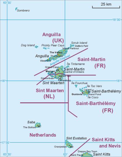Saint Barthelemy and vicinity -Saint-Martin - Anguilla - Sint Maarten - Saint Kitts -Agios Vartholomaios-Xartis -proper